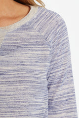 Navy Blue Heathered Elbow Patch Knit Maternity Top