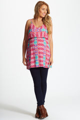 Pink Neon Accent Geometric Print Maternity Tank Top