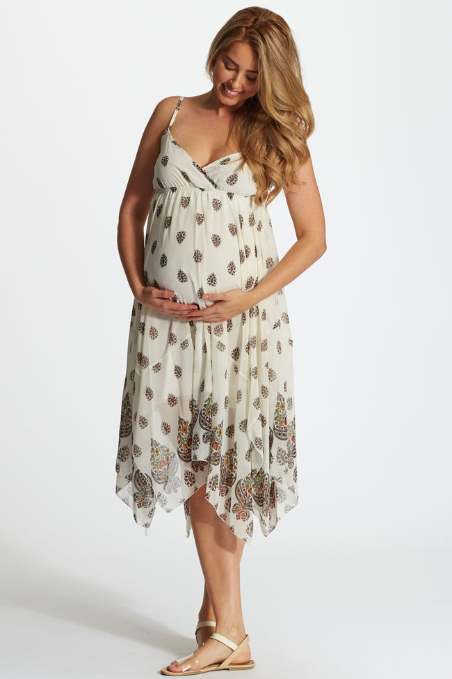 White Paisley Printed Border Maternity/Nursing Dress