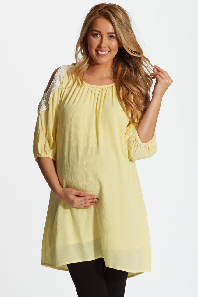 Yellow Linen Crochet Open Shoulder Maternity Tunic