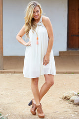 Cream Linen Crochet Neckline Dress