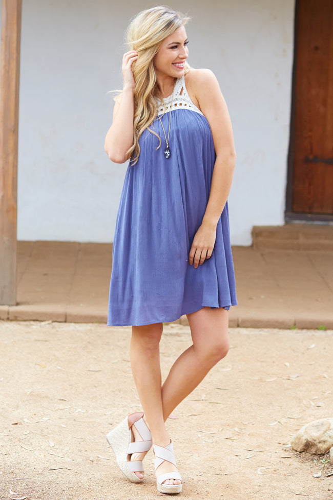 Navy Blue Linen Crochet Neckline Dress