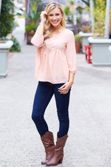 Light Pink Lace Accent Chiffon 3/4 Sleeve Blouse