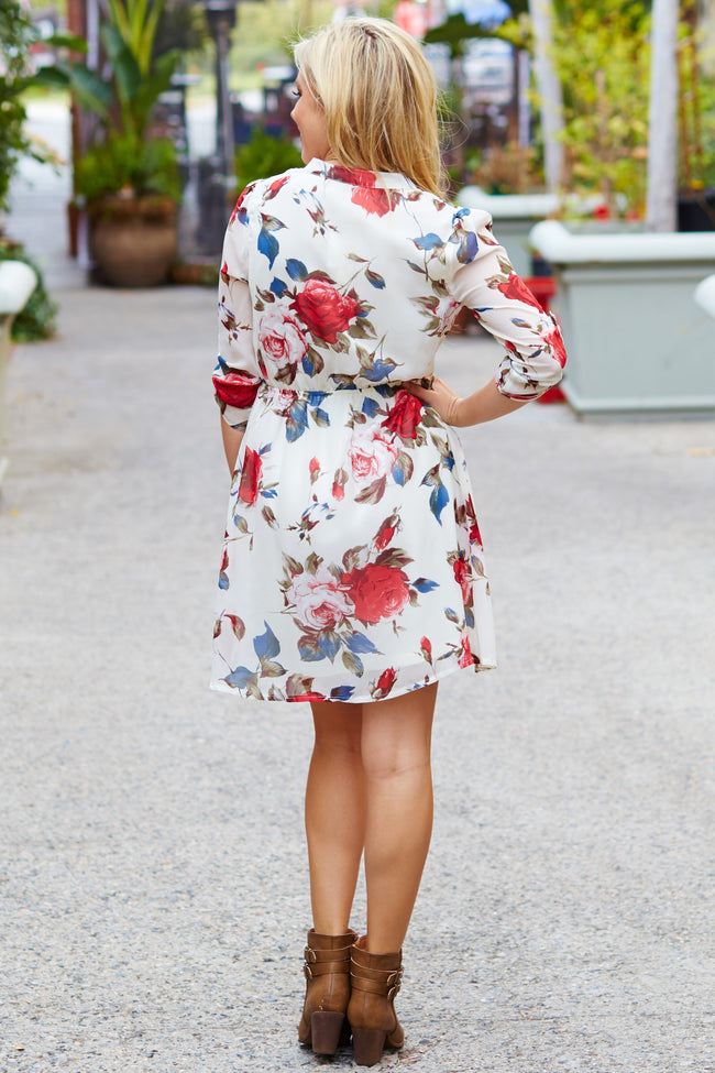Cream Floral Chiffon 3/4 Sleeve Dress