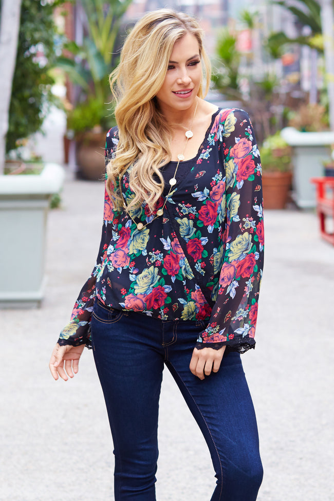 Black Floral Chiffon Lace Accent Blouse