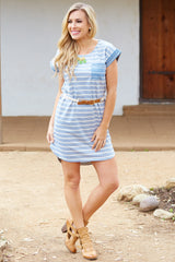 Grey Striped Tribal Accent Belted Dress