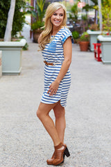 White Striped Tribal Accent Belted Dress