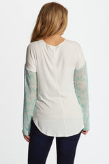 Mint Green Printed Chiffon Sleeve Maternity Top