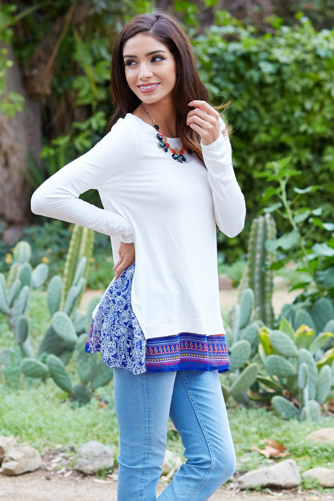 Royal Blue Printed Chiffon Accent Top