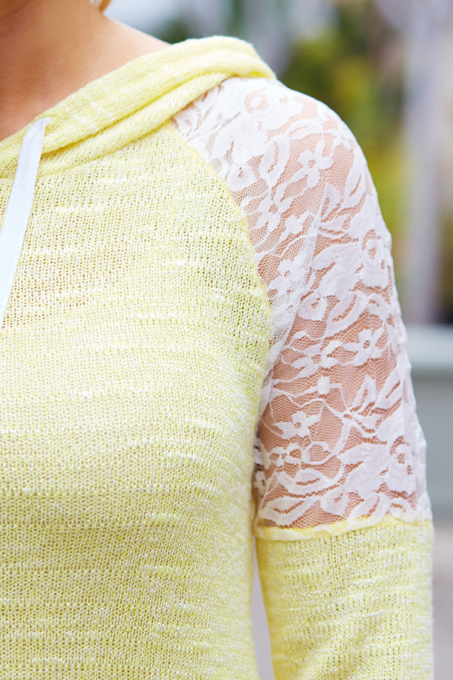 Yellow Lace Shoulder Hooded Knit Top