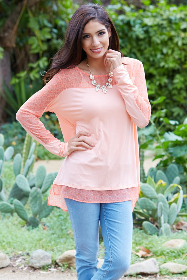 Peach Printed Chiffon Accent Maternity Top