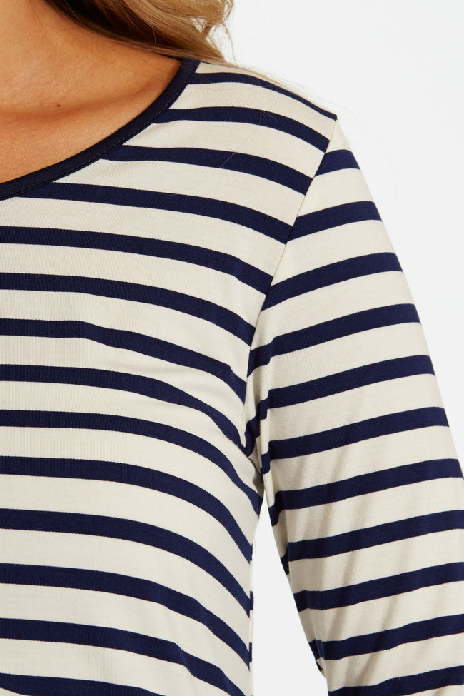 White Navy Blue Striped Button Back 3/4 Sleeve Maternity Top