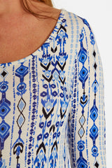 Blue Southwestern Print 3/4 Sleeve Maternity Top