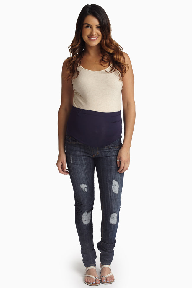 Dark Wash Destroyed Maternity Skinny Jeans