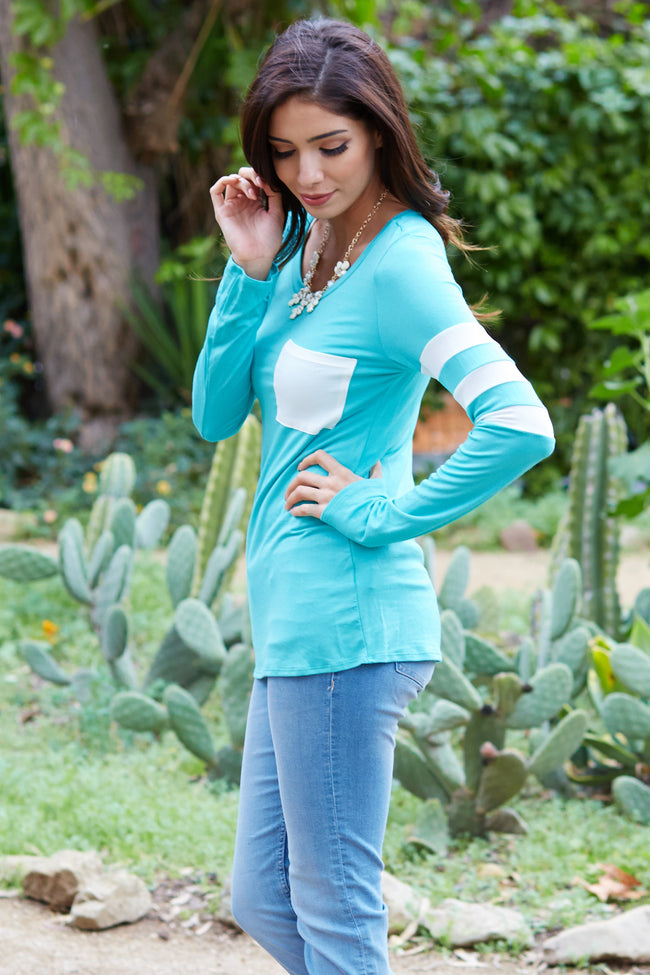 Mint Green White Striped Sleeve Top