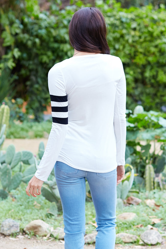 White Black Striped Sleeve Top