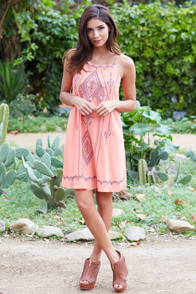 Coral Tribal Embroidered Front Chiffon Dress