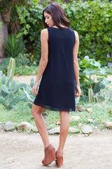 Black Embroidered Neckline Chiffon Dress