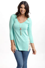 Mint Green Crochet Side 3/4 Sleeve Maternity Top