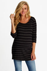 Black Grey Striped Button Sleeve Maternity Top