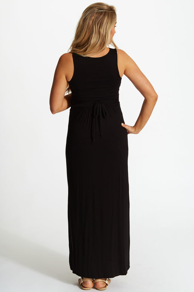 Black Maternity/Nursing Maxi Dress