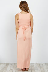 Peach Sleeveless Wrap Maternity/Nursing Maxi Dress
