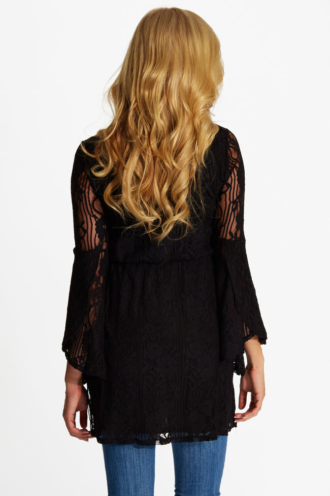 Black Lace Bell Sleeve Maternity Top