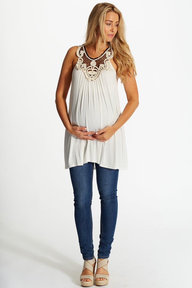 White Regal Crochet Neckline Maternity Tunic