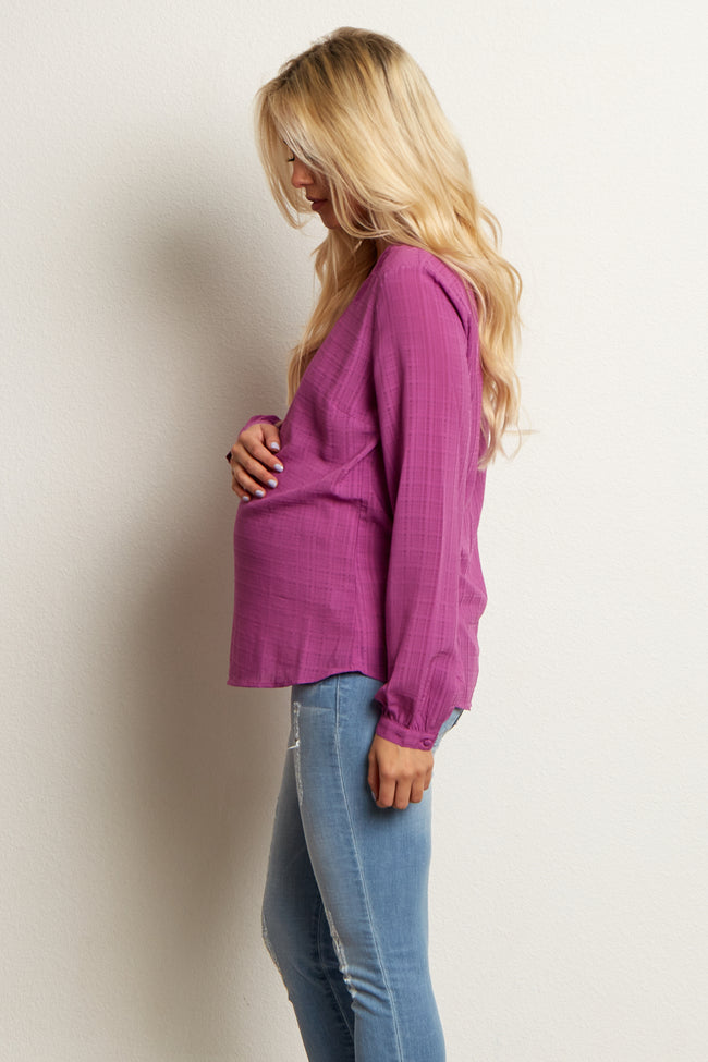 Magenta Embroidered Linen Maternity Blouse
