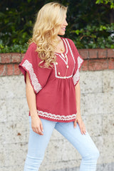 Red Embroidered Accent Baby Doll Blouse