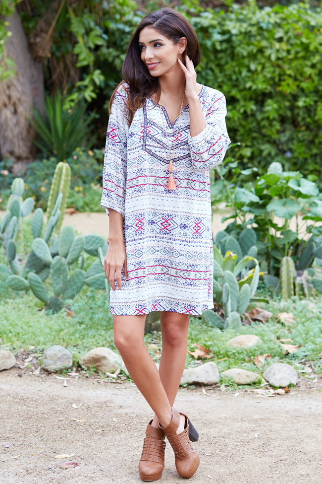 White Multi-Color Printed Linen Shift Dress
