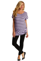 Purple Black Striped Cap Sleeve Maternity Top