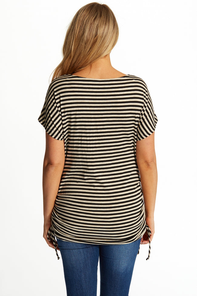 Beige Black Thin Striped Cap Sleeve Maternity Top