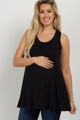 Black Solid Pocket Front Maternity Tank Top