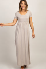 Taupe Solid Short Sleeve Maxi Dress