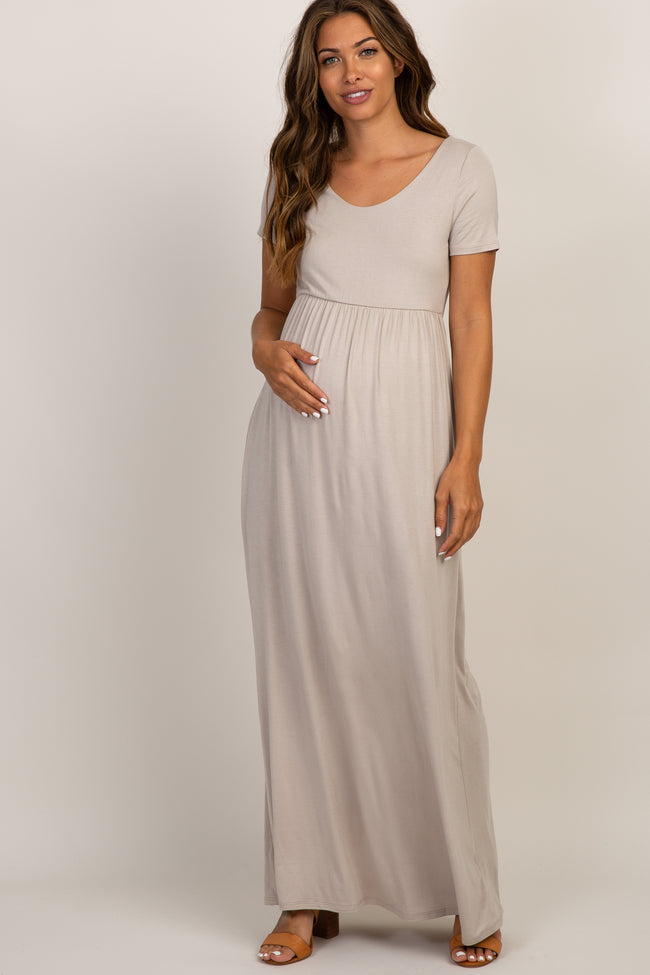 Taupe Solid Short Sleeve Maternity Maxi Dress
