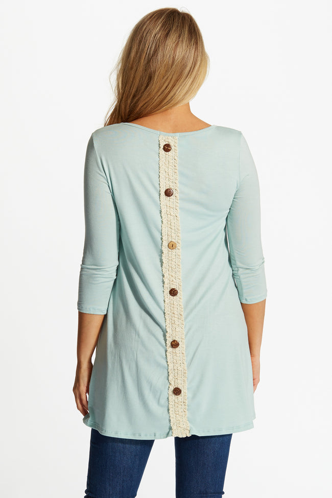 Mint Green Lace Button Back 3/4 Sleeve Maternity Top