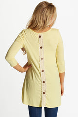 Yellow Lace Button Back 3/4 Sleeve Maternity Top