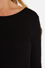 Black Lace Button Back 3/4 Sleeve Maternity Top