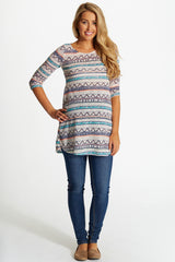 Jade Neon Accent Printed Knit 3/4 Sleeve Maternity Top