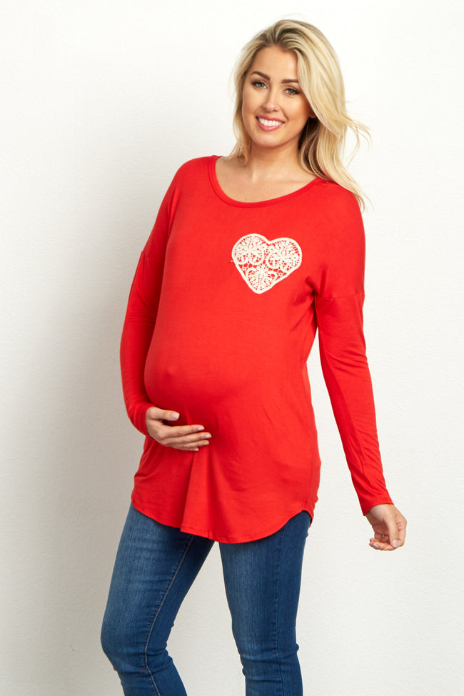 Red Crochet Heart Accent Maternity Top