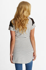 Ivory Black Striped Lace Neckline Maternity Top