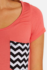 Pink Chevron Pocket Maternity Top