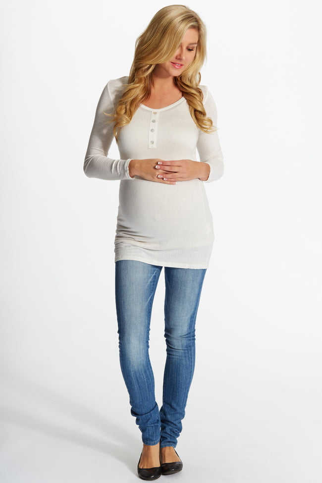 Ivory Lightweight Button Front Maternity Top