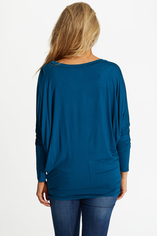 Teal Basic Dolman Long Sleeve Maternity Top