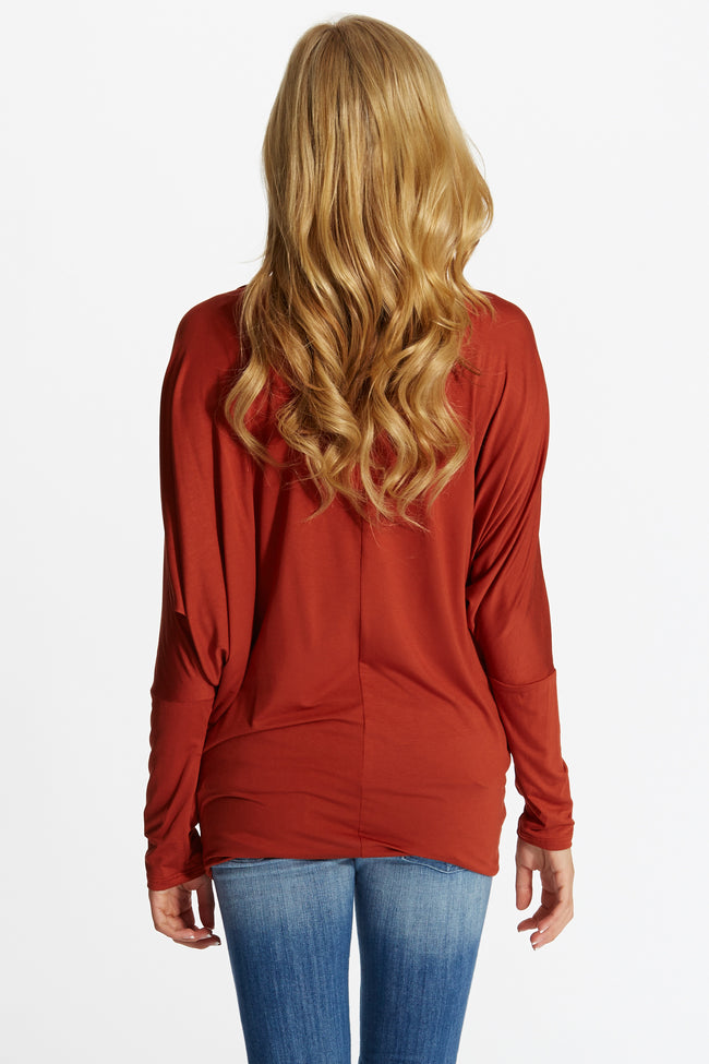 Rust Basic Dolman Long Sleeve Maternity Top