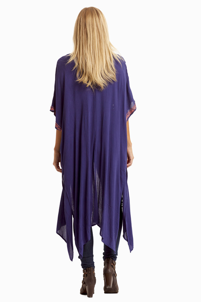 Navy Blue Linen Embroidered Accent Maxi Maternity Cardigan