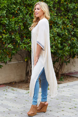 Ivory Linen Embroidered Accent Maxi Cardigan