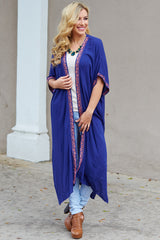 Navy Blue Linen Embroidered Accent Maxi Cardigan