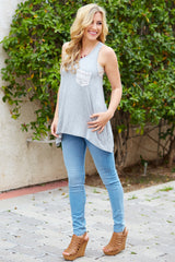 Grey Crochet Pocket Racerback Tank Top